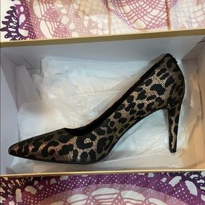 Michael Kors Leopard Black and Gold Heels Size 8
